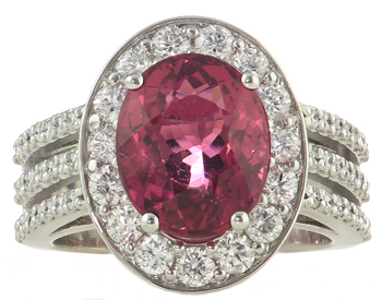 14K WHITE GOLD OVAL RUBELITE AND DIAMOND HALO RING