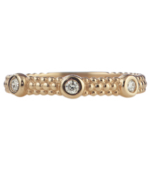 14K ROSE GOLD 3MM BEADED STACK RING WITH BEZEL SET DIAMONDS