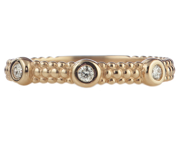 14K ROSE GOLD BEADED DESIGN AND BEZEL SET DIAMOND STACK BAND