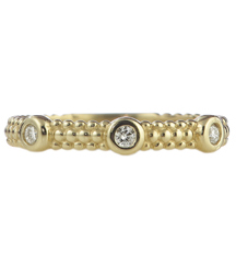14K YELLOW GOLD 3MM BEADED STACK RING WITH BEZEL SET DIAMONDS