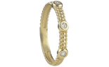 14K YELLOW GOLD BEADED DESIGN AND BEZEL SET DIAMOND STACK BAND