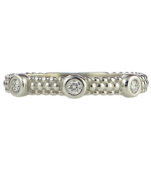 14K WHITE GOLD 3MM BEADED STACK RING WITH 3 ROUND BEZEL SET DIAMONDS