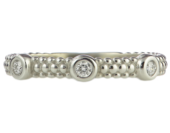 14K WHITE GOLD BEADED DESIGN AND BEZEL SET DIAMOND STACK BAND