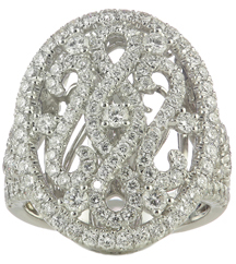 18K WHITE GOLD ROUND DIAMOND FANCY SCROLL DESIGN OVAL TOP RING