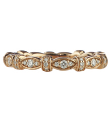 14K ROSE GOLD MARQUISE AND BAR DESIGN ROUND PAVE DIAMOND STACK BAND