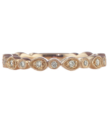 14K ROSE GOLD ROUND AND PEAR SHAPED BEZEL SET DIAMOND STACK BAND