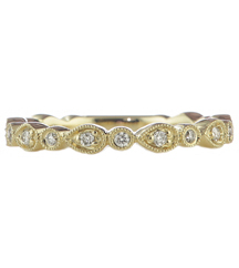 14K YELLOW GOLD STACK DIAMOND RING