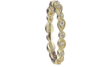 14K YELLOW GOLD ROUND AND PEAR SHAPED BEAD SET DIAMOND STACK BAND