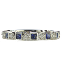 14K WHITE GOLD PRINCESS SAPPHIRE AND ROUND DIAMOND STACK BAND