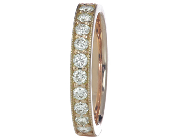 14K ROSE GOLD ROUND DIAMOND BAND