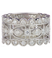 14K WHITE GOLD FANCY MILLEGRAIN SCALLOPED EDGE DIAMOND BAND
