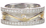 14K WHITE GOLD AND YELLOW GOLD VINE DESIGN PAVE DIAMOND BAND