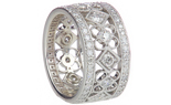 14K WHITE GOLD PAVE DIAMOND FILIGREE SQUARE AND FLOWER DESIGN BAND