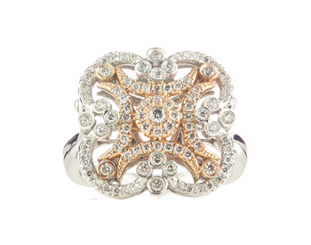 14K WHITE GOLD AND ROSE GOLD FILIGREE FLOWER DESIGN PAVE DIAMOND RING