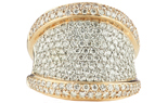 14K ROSE GOLD 3 ROW CONCAVE DESIGN PAVE DIAMOND RING