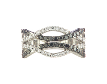 14K WHITE GOLD BLACK AND WHITE DIAMOND WOVEN DESIGN BAND