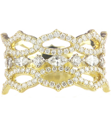 18K YELLOW GOLD FANCY CROWN DESIGN DIAMOND BAND