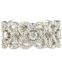 14K WHITE GOLD SCALLOPED EDGE FILIGREE DESIGN DIAMOND BAND