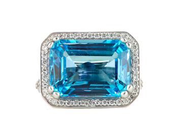 14K WHITE GOLD HORIZONTAL SET BLUE TOPAZ AND PAVE DIAMOND RING