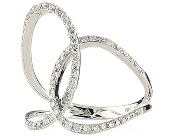 14K WHITE GOLD INTERLOCKING DOUBLE LOOP DESIGN PAVE DIAMOND RING