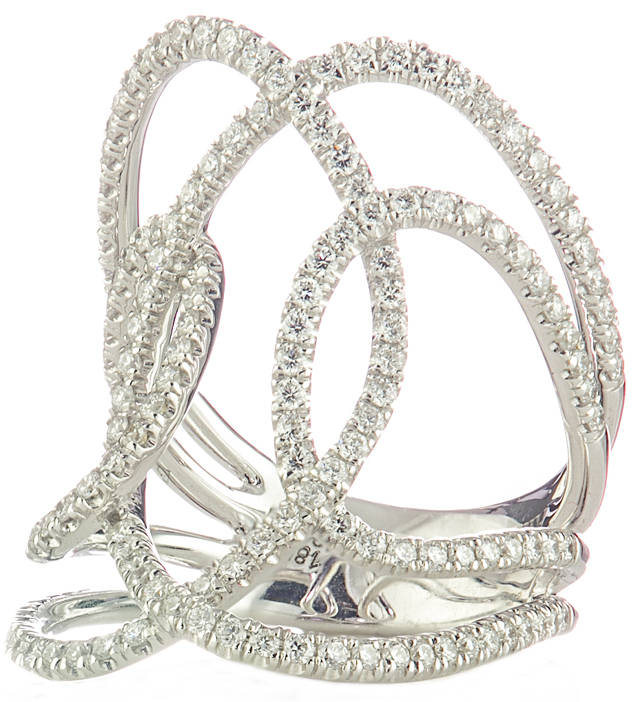 18K WHITE GOLD FANCY MULTI-LOOP PAVE DIAMOND RING