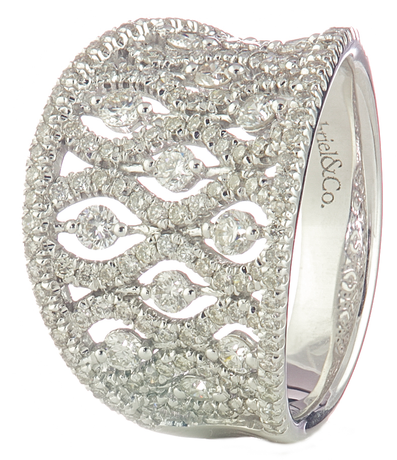 14K WHITE GOLD CONCAVE FANCY DESIGN DIAMOND RING