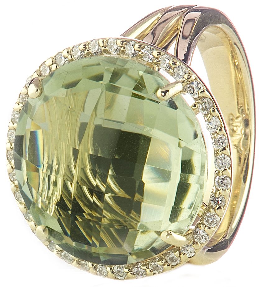 14K YELLOW GOLD ROUND LIME QUARTZ AND DIAMOND HALO RING